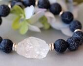 Black Agate Bracelet, Beadwork Bracelet, Stretch Bracelet, Beaded, Rock Crystal Quartz, Birthday, Bridal Jewelry, Modern Trend, Valentine