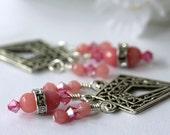 Pink Jade Earrings, Chandelier Earrings, Dangle Earrings, Drop Earrings, Gemstone Earrings, Bridal Jewelry, Modern Trend, Summer, Valentine