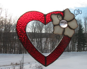Red Heart with a Flower Suncatcher