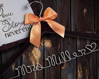 Wedding Hanger/ Brides Dress Hanger/ Bride/ Name Hanger/  47 ribbon colors