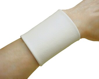 Extra Wide leather cuff , Soft leather cuff ,  Tattoo Cover 3 inch wide cuff , WHITE non metal jewelry solution