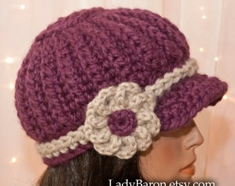 Mini Brim Newsboy Hat with Flower -  Purple - Fig - For Women - Pick Your Colors - Made to Order