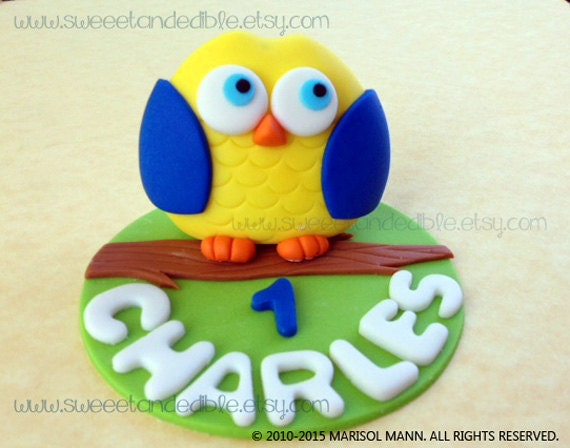 Edible Cake Image Owl : BLUE OWL Edible CAKE Topper by Sweet and Edible Catch My ...