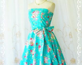 My Lady III Aqua Blue Floral Strapless Dress Blue Spring Summer Dress Floral Sundress Aqua Blue Floral Bridesmaid Dresses XS-XL Custom