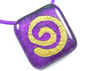 Dichroic Glass Spiral Pendant - Purple Amethyst Violet with Gold Mica Spiral Coil Fused Glass 1""