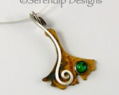 Silver Ginkgo Leaf Necklace with Green Paua Shell and Silver Spiral, Patina Sterling Silver Gingko Leaf Pendant