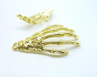 10pcs 19x42mm Gold Plated Lovely  Skull Skeleton Hand  Charm Pendant C7384