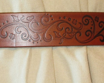 Customizable 1 1/2 inch, Small Swirl Design Leather Work or Casual Belt