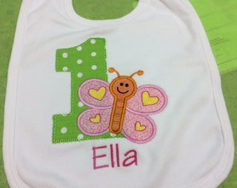 Girls Butterfly Birthday T Shirt or Bib Personalized Applique 1st 2nd 3rd Any Number or Letter