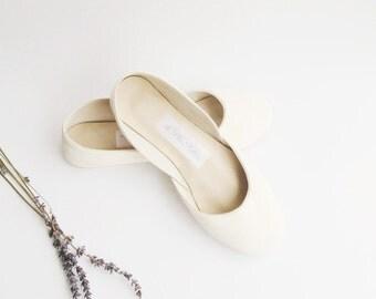 handmade white leather ballet flats | bridal wedding flats...Creamy White...ready to ship