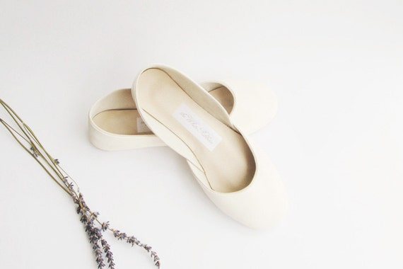 White Bridal Ballet Flats | Ballerina Flats | Dance Shoes | Bridesmaids Shoes | Creamy White...ready to ship