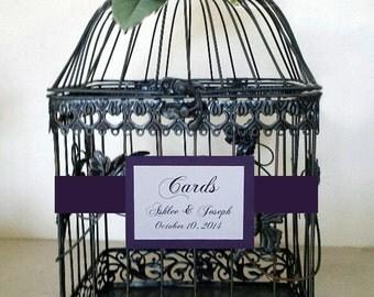 Purple Roses-Dark Bronze/Black Birdcage -Wedding Card Holder