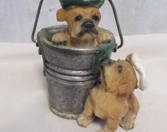 Vintage Figurines, Dogs, Puppies in Bucket, 1970s MVP