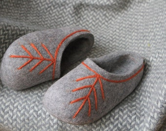 Hand Felted Wool Slippers in Gray with Latvian Ethnographic Ornament. Made to order.