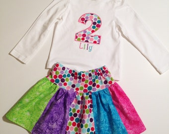 Personalized Birthday Dot Stripwork Skirt Set