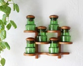 Mid Century Teak Spice Rack with Green Glass Jars