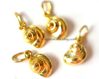 One Small Snail Shell Seashell Charm in Vermeil Gold 10x6mm