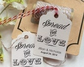 50 Personalized Printed KRAFT WEDDING FAVOR Tags Spread the Love