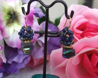 Blue Labradorite and Lapis Lazuli Earrings