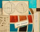 Long Distances, mixed-media/acrylic on canvas, map art
