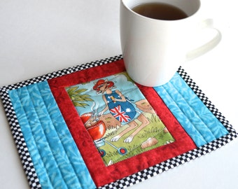 Australian BBQ Mug Mat, Red Turquoise Mug Rug, Gift for guys, Under 10, Cotton Coaster, Mini Placemat