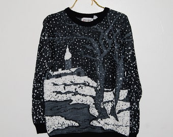 Vintage Sweater Snowstorm At Midnight Hipster