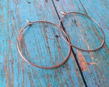 Rose Gold Hoops, Easy Breezy Style, Hammered Hoop Earrings, Light Weight Hoops, 24K Gold, rose gold