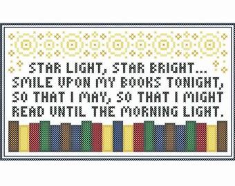 Original STAR LIGHT Book Lover's Cross Stitch Chart