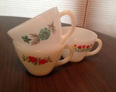 Milk Glass Vintage Anchor Hocking Fire King Tea Coffee Cups with Red Blue Flowers