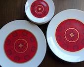 Vintage Brookpark Plates RARE Genie Pattern 14 Melmac Plates Melamine Plates Mid Century Vintage Picnic Ware