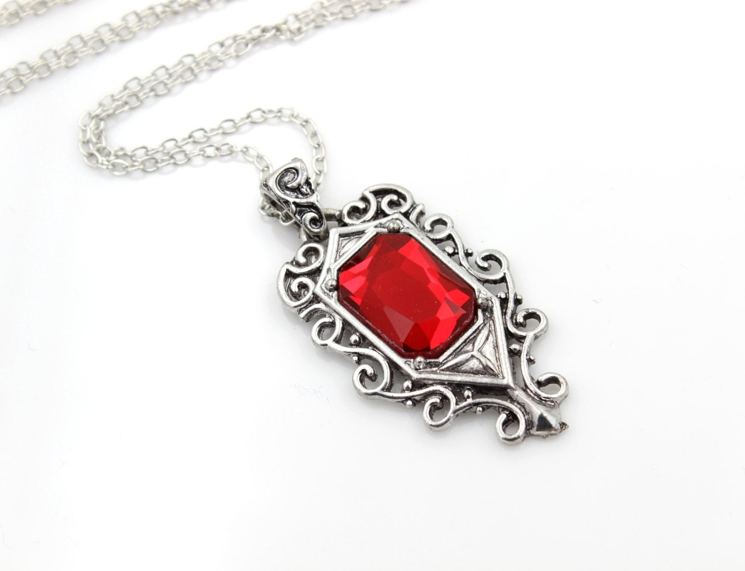 ruby necklace pendant vintage style by glazedblackcherry