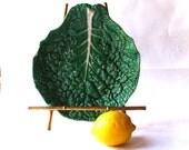 Vintage- European- Majolica- Green- Lustre Glazed- Cabbage Leaf -Platter