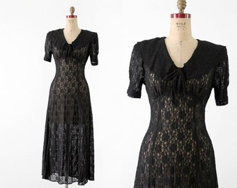 FREE SHIP  70s lace maxi dress, vintage long black dress