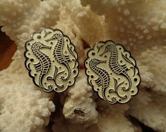 SALE 20% Lovely World War II era Seahorse  1940s clip earrings, signed Germany, Cream & Black embossed Art Deco image, ELOXAL, light weight