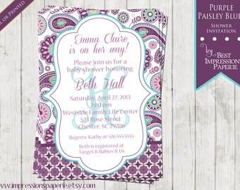 Purple Paisley Blues - A Custom Shower Invitation - Purple Lavender Aqua Paisley Baby Shower Invitation