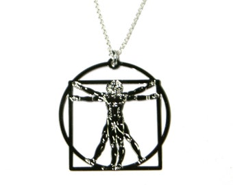 Vitruvian Man Necklace Leonardo da Vinci Necklace Architechure necklace  science necklace  science  art  Leonardo da Vinci