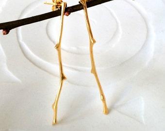 Oak Twig Long Stud Earrings