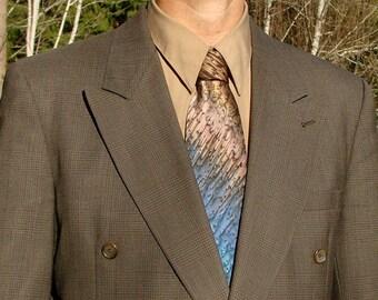 Professional Men's Hand Dyed Brown /Blue Silk Tie