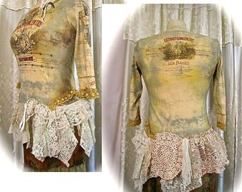 Shabby Boho Top, lace doilies layers romantic french victorian vintage embellishments, womens clothing by Tattered Delicates