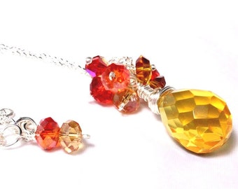 Sunshine Yellow Crystal Pendant - Cluster Pendant - Faceted Wire Wrapped Crystal - Briolette Pendant - Sunset Colors