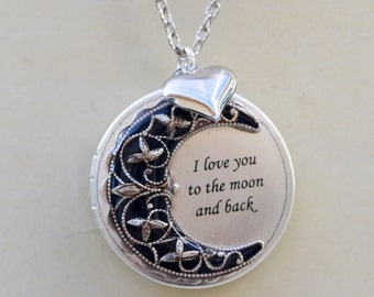 Locket,Heart  Locket,Silver locket-I love you to the moon and back ,Jewelry Gift, Bridesmaid Necklace,Wedding Necklace