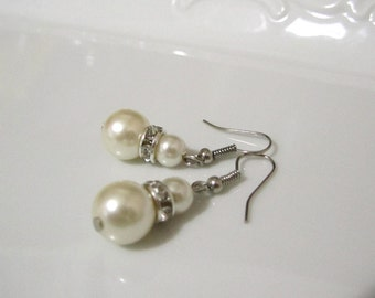 Pearl earrings with rondella spacer bead- Bridal earrings - Bridesmaids earrings