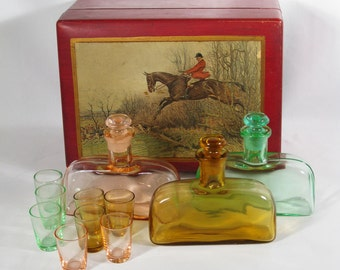 Vintage 1930s Paden City Tantalus Betty Mae Cordial Decanter Set Original Wood Box