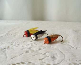 Vintage Bass Bugs Fishing Lures Fishing Tackle Lure Collection Bass Lure Bugs Set of Three Gift For Dad Vintage 1980s
