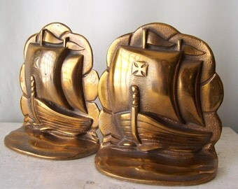 Vintage Bronze Bookends Sailing Ships Nautical Theme Pirate Ship Library Vintage 1960s