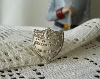 Vintage Badge Fraternity Badge Wartime Badge Base Metal Vintage 1940s