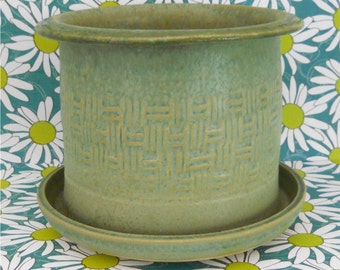 Green Basket Weave Pottery Planter