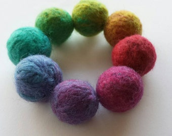 Hand Felted Fine Merino Wool Kids Rainbow Beaded Bracelet 'Rainbow'