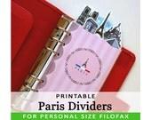 PRINTABLE Personal Size Cute Kawaii DIY Paris Dividers 5 Top Tabs for Filofax Organizer Planner Instant Download