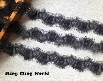 Venice Lace Trim -3 Yards Black Eyelash Lace Trim (L461)